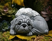 Pug Angel Statue - Angel Dog Garden Sculpture - Solid Concrete Pet Memorial