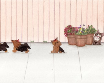 Cat distracts littlest yorkshire terrier (yorkie) / Lynch signed folk art print
