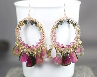 Watermelon Tourmaline earrings, Multi colour Tourmaline chandelier earrings, 14k gold filled hooks ... TATUM Earrings