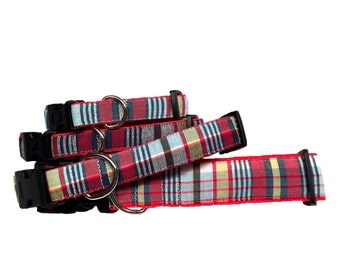 Dog Collar- Red and Blue Plaid Extra Small- Extra Large Sizes All Breeds - 'Nantucket Madras'