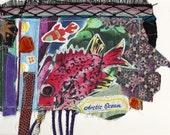 ROCKET FISH-  Original Fabric Collage - Recycled Materials -  myBonny Folk Art