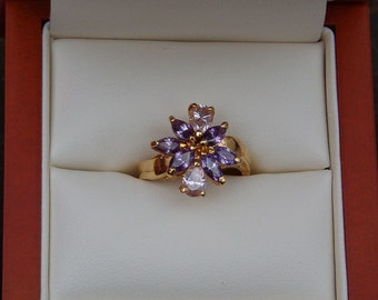 Ring, Fashion Jewelry, Fashion Ring, CZ Gold Tone Ring, Pink and Purple Ring, CZ Floral Gold Ring, CZ Cocktail Ring