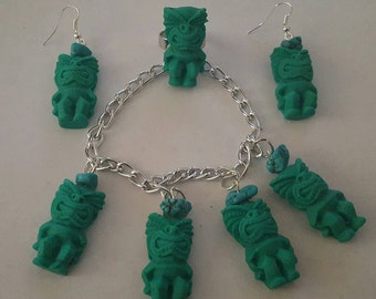Tiki, Tiki ring, Tiki bracelet, Tiki earrings, Tiki set, MsFormaldeyde, Tiki Oasis, Ready to ship, Gifts for her