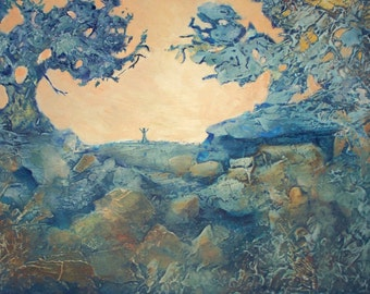 Mixed Media Acrylic Painting of Gratitude and Prayer