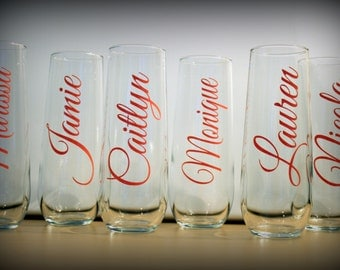 10 - stemless champagne toasting glass - set of 10 - Great gift for the bridesmaids, bachelorette parties, showers...