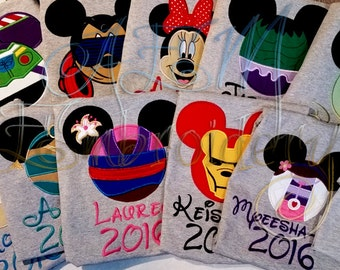 5+ Custom Disney Vacation Unisex ADULT or KIDS unisex Shirts with Character Name and Year 2016 (6 weeks)