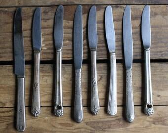 vintage flatware set of eight knives