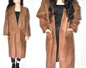 long brown LEATHER jacket vintage 80s 1980s boho suede DUSTER patchwork southwestern COCOON coat