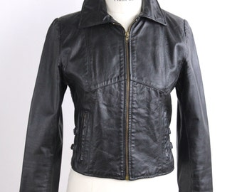 Vintage 1970s Black Leather Jacket | Brass Buckle Detailing | Fitted Leather Jacket | XXS to XS
