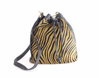 Vintage Leather Bucket Bag | Cavallino Leather Purse | Calfskin Leather Drawstring Bag