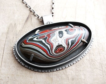 Fordite necklace, Detroit Agate, fordite jewelry, sterling silver necklace, metalsmith