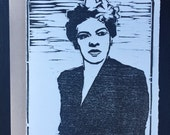 The Billie Holiday Card // Woodblock Print Greeting Card
