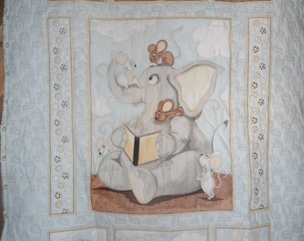 elephant mice cheese quilted baby blanket quilt