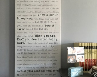 Personalized Decor Kids Room for Bedroom or nursery  WORD Art favorite quote, Velveteen rabbit What is Real