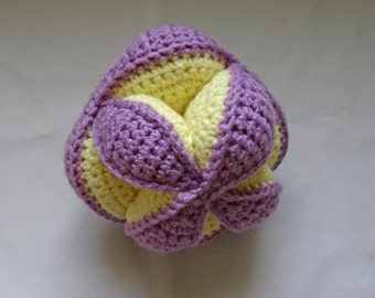 Crochet Puzzle ball toy, Amish puzzle ball, lanvender purple, soft baby yellow