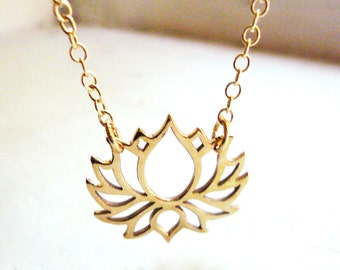 Gold Lotus Necklace. Open Lotus Flower Necklace in Gold Filled and Natural Brass - Gold Blooming Lotus Flower Necklace. Life abd Rebirth.