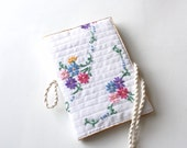 Journal cover recycled vintage embroidered cloth country #1