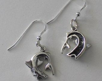 Sterling Silver 3D SHARK Earrings - French Earwires - Marinelife, Fish, Ocean