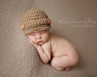 Newborn Winter Hat, Coming Home Hat, Baby Hat, Baby Boy Hat, Newborn Hat, Baby Photo Prop, Baby Winter Hat, Newborn Boy Hat Baby Newsboy Hat