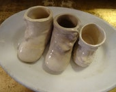 Vintage Shabby Trio Ceramic Crazed Baby Shoes