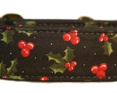 Holly Berries on Black Martingale Collar-