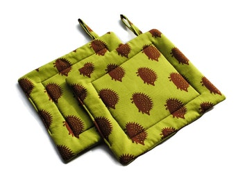 Quilted Pot Holders Olive Green Brown Hedgehogs set of 2