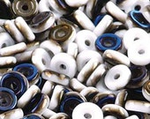 Chalk Azuro White Bronze Blue Iris Matubo Czech Pressed Glass Wheel Beads 6mm 10 grams