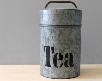 Tea. Vintage aluminum canister.