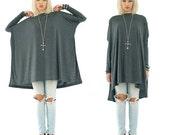SALE 20% BABOOSHKA Black Long Sleeve Solid Vent-Tee Mini T-shirt Dress (ready to ship)