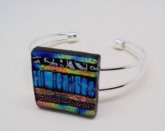Dichroic jewelry cuff bracelet.