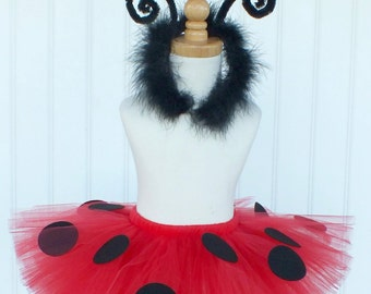 Ladybug Costume, Baby Ladybug Tutu, Toddler Halloween Costume, Lady Bug Tutu and Headband Set, SEWN Tutu, Custom Lady Bug Tutu Costume Set