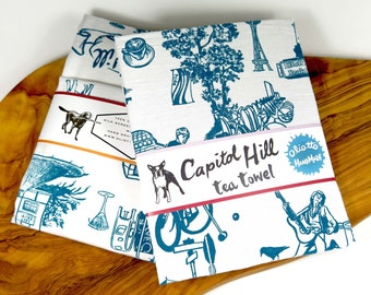 Tea Towel Screen Print Blue Toile Seattle Capitol Hill 100% Cotton Floursack