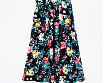 80's BOLD FLORAL skirt // vintage grunge skirt // midi // maxi long skirt // S M