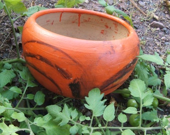 Handmade in Mexico Vintage Rustic Clay Pottery Planter Flower Pot Orange with Black