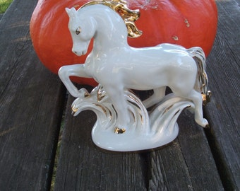 Vintage Winter White Ceramic Horse Statue with gold accents