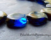 Square Beads, Blue and Gold, Large Bead, Lucite Beads, Unique Beads, Italian Beads, Jewel Tones, Holiday Jewelry, Jewelry Supplies, 10 Beads