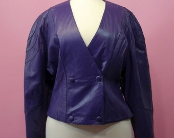 vintage | purple fitted cropped leather jacket m l