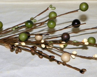 Pip Berries, 13 Inch Pip Berry Picks with Sage Green, Beige, Plum and Grey Primitive Floral Picks