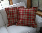 2 Christmas Burlap Pillows READY to SHIP Red Plaid Burlap Throw Pillows Farmhouse Decorative Pillows Red Burlap Pillow Covers Custom Sizes