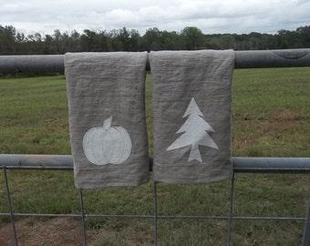 Natural Linen Christmas Tea Towel Neutral Holiday Towel Neutral Pumpkin Towel Heart Towel Neutral Valentine Decor Natural Linen Towel