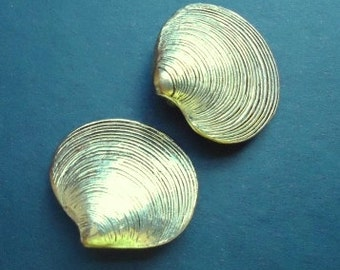 Antique Gold Color Clam Clip Back Earrings