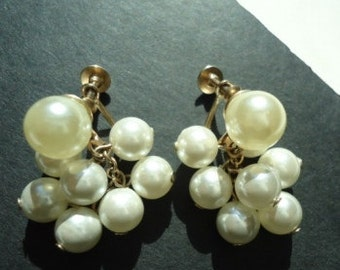 Vintage Bubbles Cluster Pearls with Screw Backs - One Day SALE!  July 19th