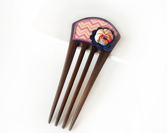 Wooden Hair Comb - Statement comb, decorated wooden comb, silk Japanese kimono puffy flower, felt flower - chevron, pink, navy