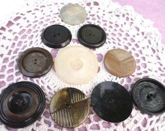 10 BIG Vintage Buttons Coat Buttons Unique Big Buttons