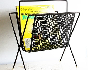 Vintage magazine rack - metal - black - retro - V shape - starburst sunburst pattern - mcm