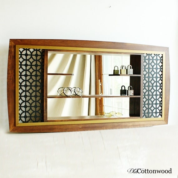 Vintage shadow box mirrored shelf shelves wall by for Mirrored box shelves