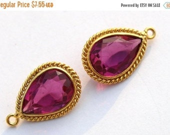 55% OFF SALE 1 Pc 22x14 mm Gold Plated Bezel Set AAA Rubellite Quartz Faceted Pear Charm, Single Loop Gemstone Pendant Gp96