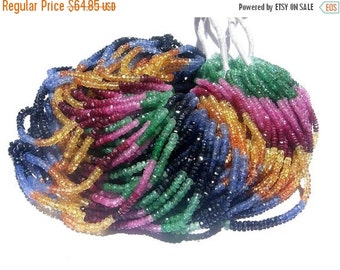 55% OFF SALE 1/2 strand 2-2.5mm AAA Multi Precious Faceted Rondelles Emerald, ruby, pink sapphire, blue sapphire, orange sapphire, yellow sa