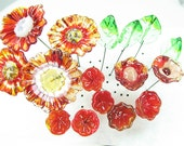 16 Handmade Glass Lampwork Flowers and Leaves on Wire   Red Poppy Flower Garden