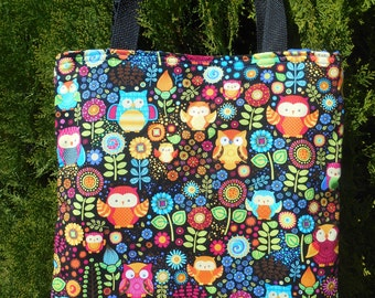 Owls Flowers Tote Bag New Print Bright Colorful Handmade Purse Limited